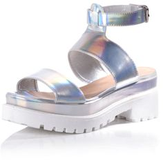 Holographic Chunky Ankle Strap Sandals ($40) ❤ liked on Polyvore featuring shoes, sandals, silver, hologram shoes, ankle wrap shoes, chunky sandals, ankle tie sandals and summer shoes