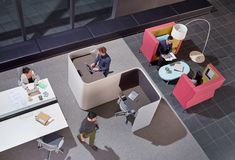 Designed by Australian designer Nick Tennant, Focus provides a quiet refuge for a private conversation or solo work time, absorbing the outside noise and shielding the user from view. The units are available with power and data connections. Cool Office Space, Office Space Design, Workplace Design, Library Design, Office Interior Design, Study Cafe, Study Nook, Corporate Interiors, Office Interiors