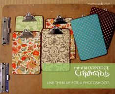 diy clipboards. modpoge scrapbook paper to both sides of a plain clipboard, and you're done!