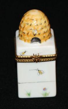 Limoges France Peint Main Trinket Box Rochard Beehive Bear Honey Miel Bees | eBay