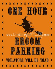 It's BACK!!!! Broom Parking { Free Printable} | The Diary Of DavesWife   ☀CQ #halloween #crafts #DIY óÓò