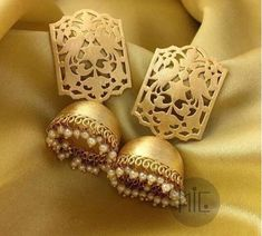 Indian jewelry, traditional jewelry,High quality gold plated jhumkas lined with fine pearls Gold Jhumka Earrings, Indian Jewelry Earrings, Indian Jewelry Sets, Fancy Jewellery, Jewelry Design Earrings, Gold Earrings Designs, Ear Jewelry, Gold Jewelry, Jhumka Designs