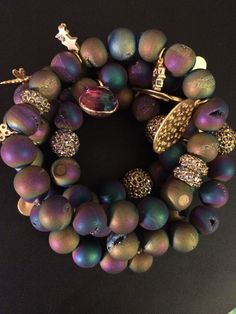4 Bracelet Stack iridescent matte agate by addieandisaacjewelry