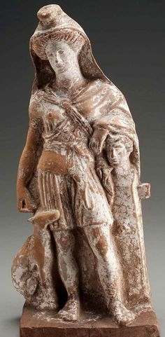 Artemis Bendis leaning on herm of Pan - Terracotta statutue, Greek period, 4th century B.C. at the Boston Museum