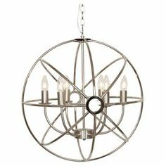 Chandelier With A Brushed Nickel Finish And Armillary Inspired Shade Product Chandelierconstruction Material