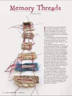 Big thank you to.....   the lovely folks over at Somerset Memories  magazine for doing a feature on me and my Memory Threads: