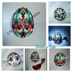 Reinbow Egg:uovo in polistirolo interamente lavorato con Superduo e Twins Preciola Ornella