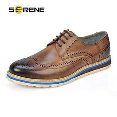 Oferta: 93.54€ Dto: -23%. Comprar Ofertas de SERENE Retro Hombres Zapatos de vestir de cuero Formal negocio Brogue zapatos para hombres - Marrón, azul barato. ¡Mira las ofertas!