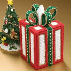 Mary Maxim - Christmas Gift Tissue Box Cover Plastic Canvas Kit - A cute holiday decoration that covers up a normal tissue box and fits right in with a christmas theme.