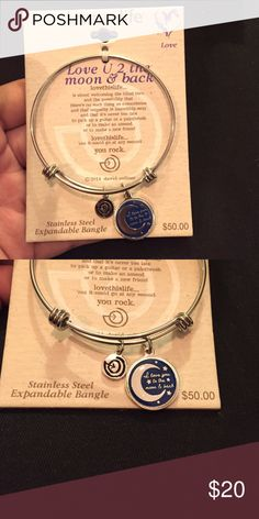 Stainless Steel Expandable Bangle ✨NWT✨ I love you to the moon & back bangle.   Stainless Steel in perfect condition  Lovethislife Jewelry Bracelets