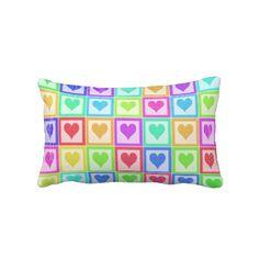 """Rainbow Heart Quilt Pattern. Throw Pillow Lumbar 13"""" x 21""""."""