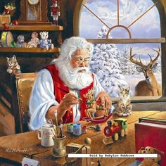 North Pole workshop Santa Claus, St. Nick, Father Time, Kris Kringle #Santa ~~ More                                                                                                                                                                                 Más