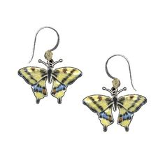 Our Swallowtail Butterfly cloisonne wire earrings by Bamboo Jewelry feature the distinctive yellow and black striped markings on this tropical beauty's wings.