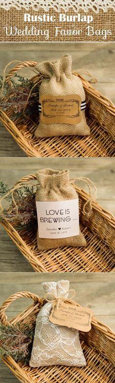 rustic burlap wedding favor bags