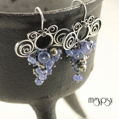 Io - Sterling Silver Earrings with rich tanzanite and pyrite cascades