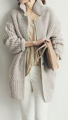 SO CUTE Grey Oversized Coat - Chunky Oversized Sweater Poncho, Sweater Cardigan, Comfy Sweater, Long Cardigan, Grey Sweater, Look Urban Chic, Mode Pop, Chunky Oversized Sweater, Chunky Knits