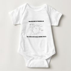 "This Machine Is Powered By The Citric Acid Cycle Baby Bodysuit #thismachineispoweredby #poweredby #citricacidcycle #krebscycle #TCAC #geek #humor #funny #chemistry #biochemistry #wordsandunwords Here's a baby bodysuit for any baby who is powered by the Krebs cycle.  Comes with the following geek humor saying: ""This Machine Is Powered By The Citric Acid Cycle""."