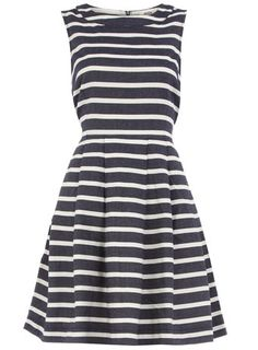 stripe dress in navy via dorothy perkins--perfect with a white cardigan, nude heels and gold jewelry
