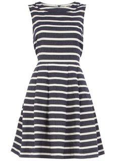 stripe dress in navy via dorothy perkins