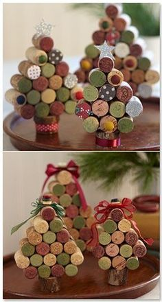 Wine Cork Christmas Trees - another crafty reason to drink more wine Wine Craft, Wine Cork Crafts, Bottle Crafts, Crafts With Corks, Wine Cork Art, Diy With Corks, Wine Cork Boards, Wine Cork Trivet, Wine Cork Wreath