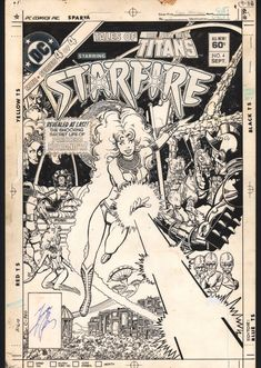 George Perez -Tales of the New Teen Titans Cover Starfire! Comic Book Pages, Comic Page, Comic Book Covers, Comic Books Art, Book Art, Starfire Comics, Teen Titans Starfire, Dc Comics Superheroes, Comics Girls
