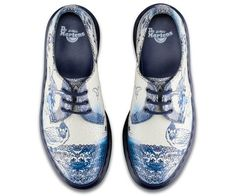 Dr. Martens 1461 Shoe, reinvented with a traditional Chinese willow print. Created using a special crackled suede.