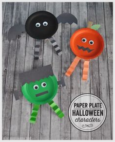 15 festive easy Halloween crafts for kids - including these cute paper plate characters!