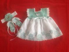 Handmade Crochet Newborn Baby Girl Dress Set  Aqua and by MiBeba