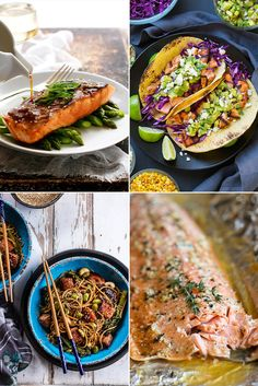 Center a meal around salmon, and you're more likely than not to be satisfied. And if you keep your freezer stocked with frozen filets, it can be an easy, quick-cooking choice, perfect for busy weeknight dinners. These 29 recipes all come together in around an hour or less and range from avocado-salsa-topped tacos to teriyaki to baked lemon salmon.