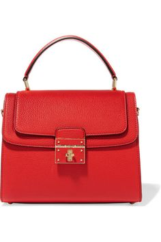 cf45521c994 Red textured-leather (Calf) Twist lock-fastening front flap Weighs  approximately 3.3