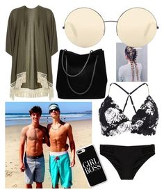 """Beach with Cam and Taylor "" by emma1322 on Polyvore featuring River Island, Seafolly, Dorothy Perkins, Gucci, Victoria Beckham and Casetify"