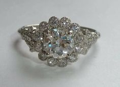 Graceful Edwardian Platinum 1.20ct Diamond Engagement Ring