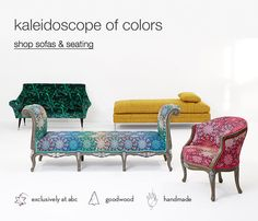 kaleidoscope of colors. shop sofas & seating