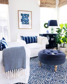 home decor blue Living room decor with blue and white accents - Jane at Home Coastal Living Rooms, Interior Design Living Room, Home And Living, Living Room Designs, Blue Living Rooms, Coastal Cottage, Modern Living, Blue Rooms, Coastal Homes
