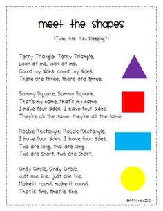 """Meet the Shapes"" Poem & Activities                                                                                                                                                                                 More"