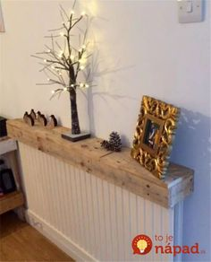 Radiator Cover Pallet Shelf Used For Displaying Things Hack Diy Ikea Cabinet Radiator Covers Ikea, Radiator Shelf, Cool Shelves, Pallet Shelves, Room Interior, Interior Design Living Room, Hallway Decorating, Interior Decorating, Home Radiators