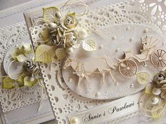 Dorota_mk: Z tiulem. --- White-on-White White on White --- Cream-on-Cream Cream on Cream Anniversary Cards, Washi, Wedding Cards, Decorative Boxes, Shabby Chic, Paper Crafts, Valentines, Engagement, Elegant