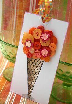 Ice Cream Cone Tag ~ PERFECT for attaching to a HOSTESS GIFT for a SUMMER GET-TOGETHER!  Perhaps a set of sundae or parfait glasses, basket with hot fudge sauce, caramel sauce, jar of cherries, walnuts in syrup, and an ice cream scoop.  Or for an ice cream recipes book.  :)