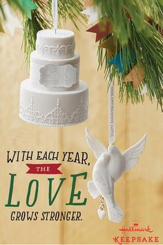 Looking for wedding gift or anniversary gift ideas? Hallmark Keepsake Ornaments are beautiful pieces for the Christmas tree that celebrate love in beautiful porcelain, like this Wedding Cake Ornament and Anniversary Cuddling Lovebirds Ornament with Personalization Charms.