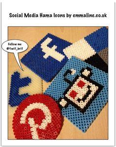 Hama Bead Social Media Icons - Free Pixel Pattern by @twit_brit