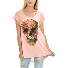 Magic Fit Peach Skull Floral Split-Back Top (€16) ❤ liked on Polyvore featuring tops, peach top, gothic tops, boho style tops, flower print top and skull top