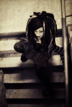 Goth Girl  on Stairs