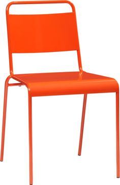 $80 for porch table? Also available in white. lucinda orange stacking chair in outdoor furniture | CB2