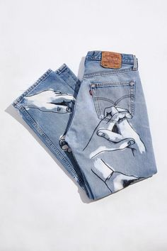 Studio MYKE X Urban Renewal Hand Painted Jean,  $390.00 Painted Jeans, Hand Painted, Clothes Encounters, Urban Renewal, Urban Outfitters, Studio, Fashion, Moda, Fashion Styles