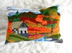 vintage crewel barn and farm pillow
