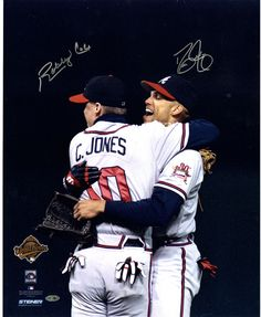 David Justice/Bobby Cox Dual Signed Hugging Chipper Jones 16x20 Photo