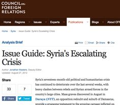 August 27, 2012 - RESOURCE - COUNCIL ON FOREIGN RELATIONS - ANALYSIS PAGE - A year old but has links to articles that are useful.