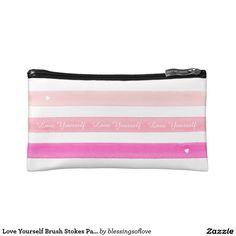 Love Yourself Brush Stokes Pastel Makeup Bag