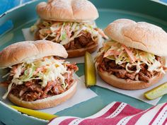 Tyler's BBQ Pulled Pork : Tyler seasons a pork roast with spicy-sweet dry rub, roasts it low and slow until it's falling apart and then serves with a tangy cider vinegar barbecue sauce. via Food Network