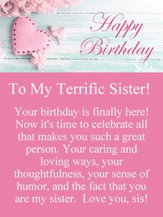 cards for birthday inspirational happy birthday sister ecards birthday email cards unique some e of cards for birthday Happy Birthday Daughter Wishes, Birthday Greetings For Sister, Birthday Messages For Sister, Message For Sister, Happy Birthday Wishes Cards, Birthday Reminder, Sister Birthday Quotes, Happy Birthday Images, Funny Birthday Cards